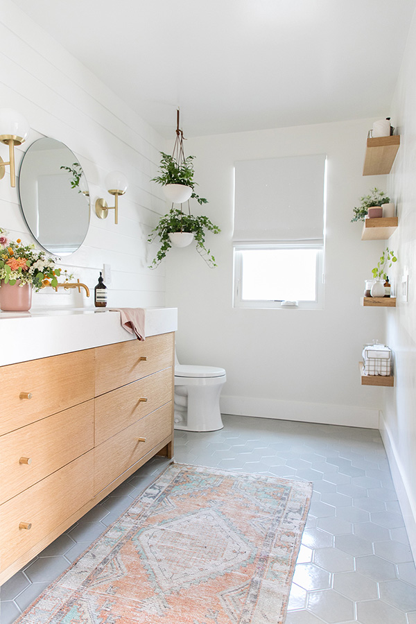 A white and wooden bathroom