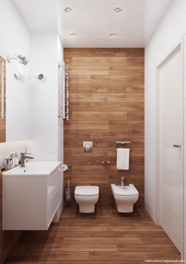 Diseños de baño en blanco y madera