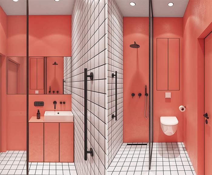Baño de diseño rosa