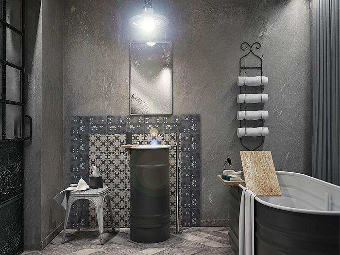 Modern industrial style bathroom.  #Bathroom #Industrial #Design #Decoration #Interior design