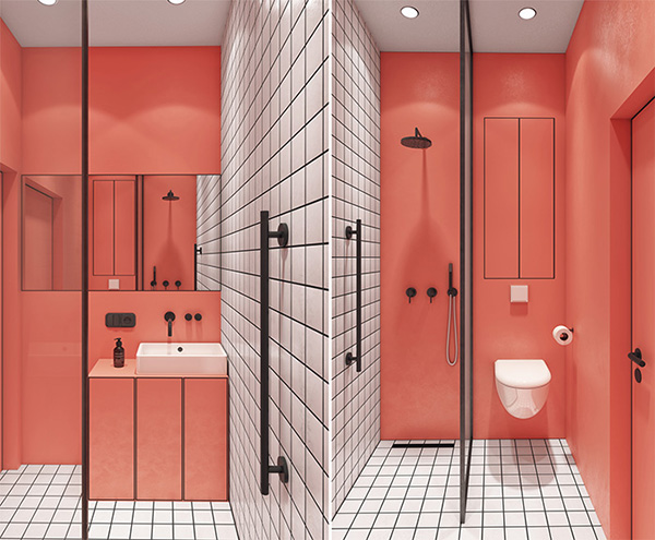 A small modern bathroom in coral color