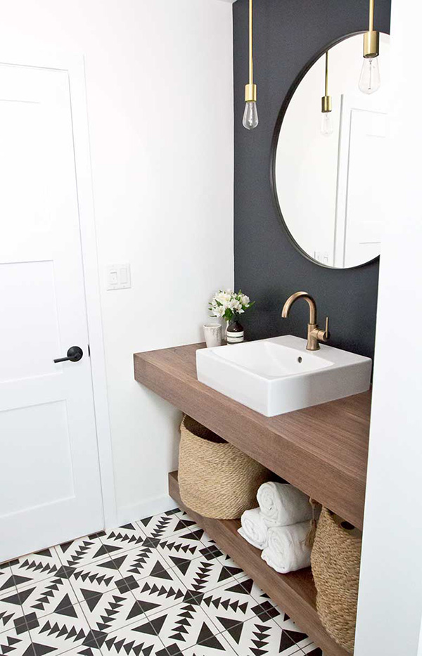 A small bathroom in black and white