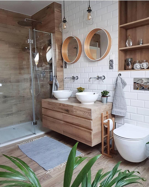A small bathroom with lots of wood