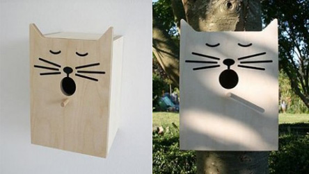 casa para pajaros con forma de gato