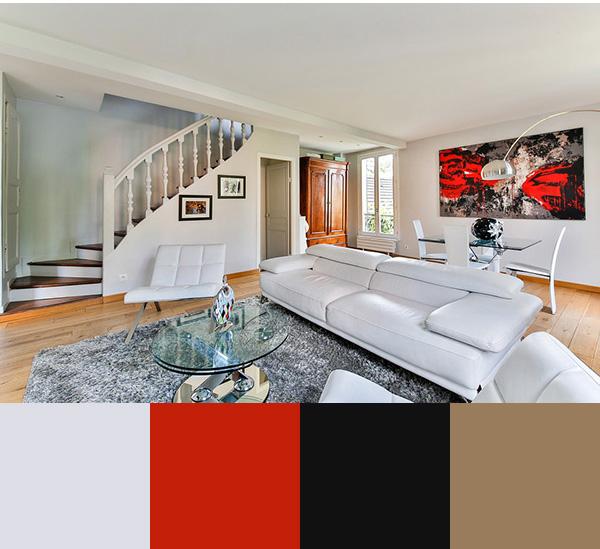 Combinación de colores para pintar un salón moderno