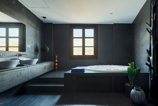 Un baño minimalista en tonos negros