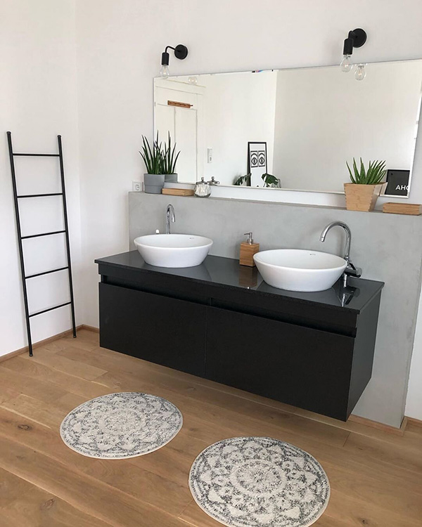 A modern bathroom with rustic accents