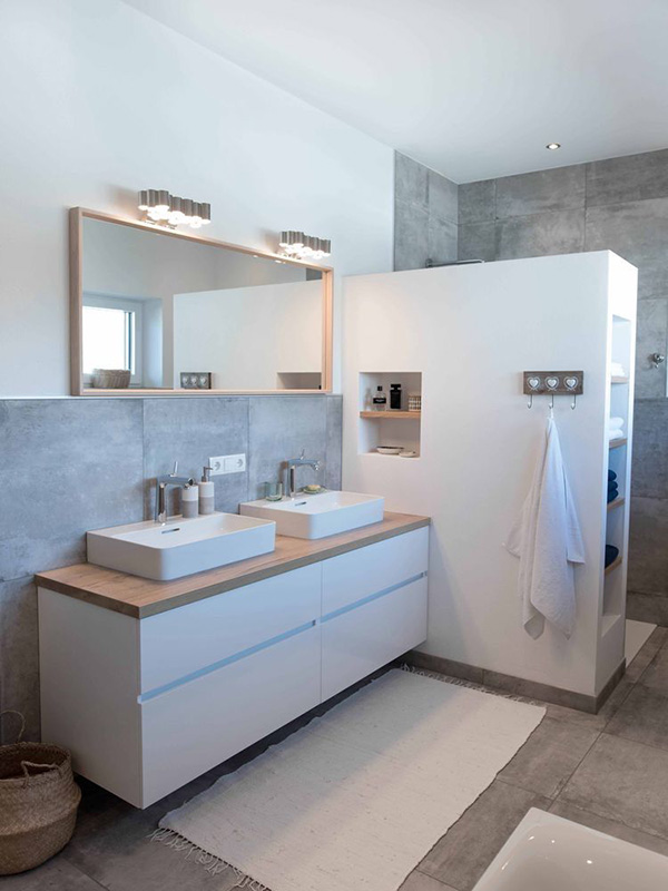 A modern bathroom with rustic details