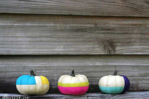 Decora tus calabazas para Halloween color block