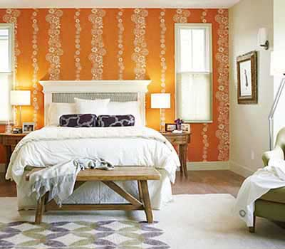 Ideas para decorar un dormitorio con papel pintado y for Bright bedroom wallpaper