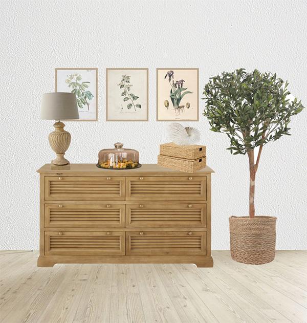 Idea para decorar encima de una cómoda - Propuesta decorativa decoración de cómoda rústica
