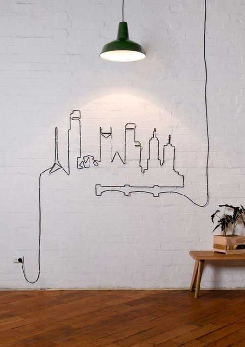 10 ideas para decorar la pared con cables Cable Drawing Mil