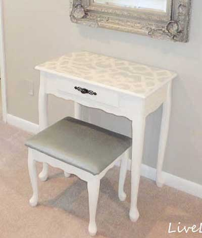 decorar un mueble blanco con stencil