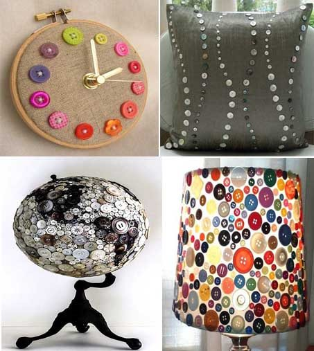 23 ideas diy para decorar objetos con botones mil ideas for Objetos decoracion hogar