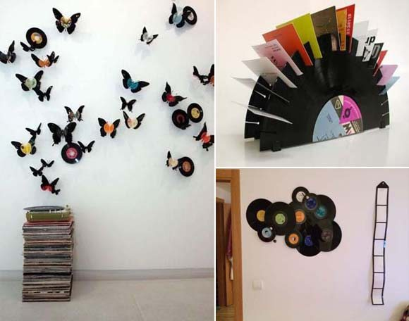 Ideas para decorar la casa con discos de vinilo for Adornos de dormitorios reciclados
