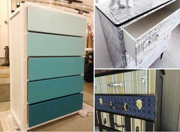 Ideas para decorar un antiguo mueble aparador - Decorar muebles con papel pintado ...