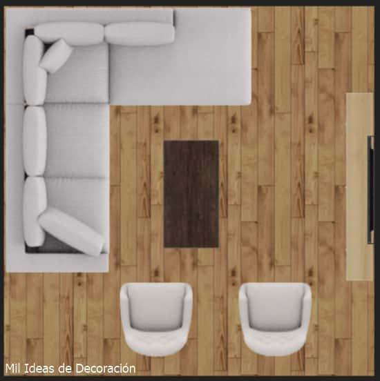 Distribucion muebles salon cuadrado