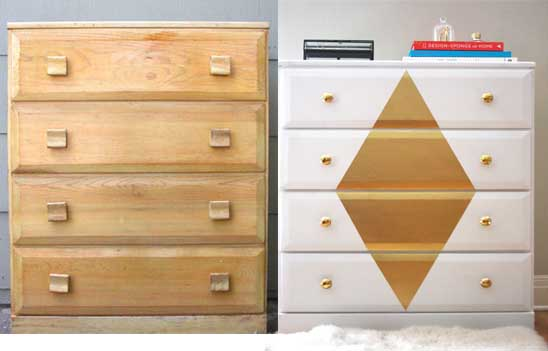 Diy decoraci n decorar un mueble en blanco y oro for Idea de muebles quedarse