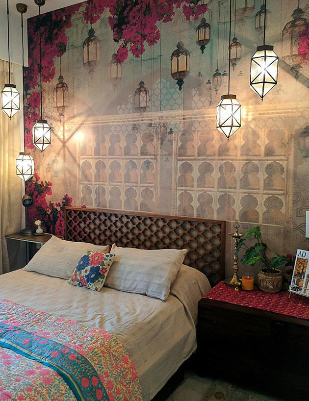 Un dormitorio vintage moderno con tintes marroquíes