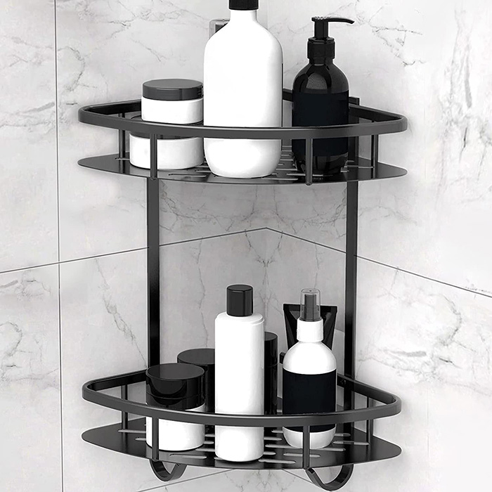 Double corner shelf in matte black for shower without holes