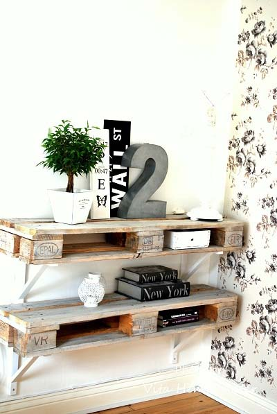 10 ideas para fabricar una estanter a con pal ts de madera - Paletten wandregal ...