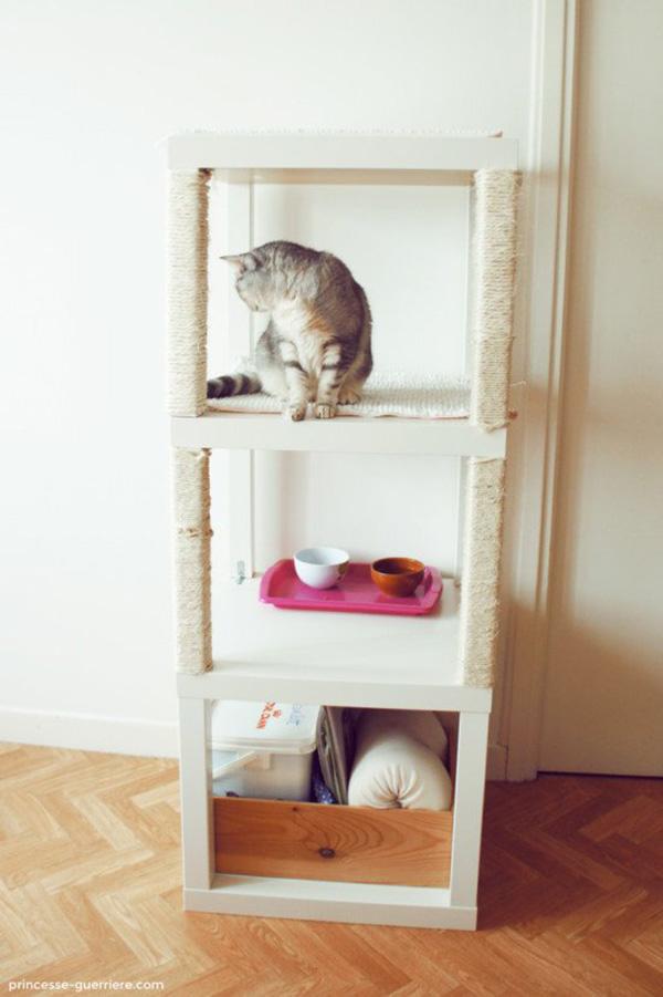 Estantes, rascadores y camas DIY para gatos y gatificar la casa