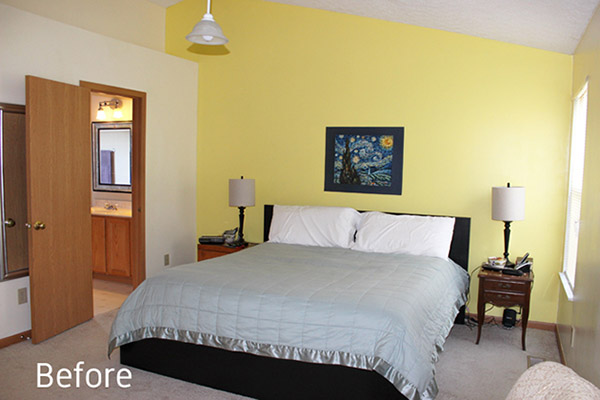 Dormitorio o habitación pintada en dos colores: Amarillo y beige