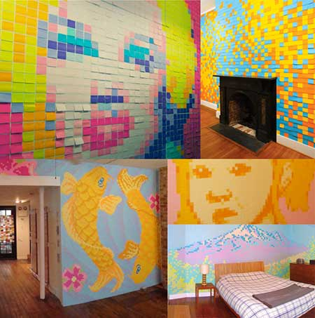 Una pared decorada con post it