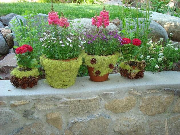 Macetas de barro decoradas con musgo