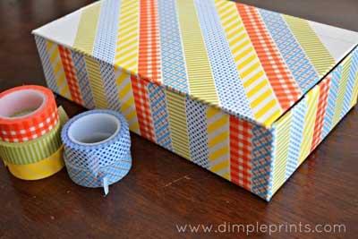 30 hermosas ideas para decorar con cinta adhesiva washi - Decorar una caja de zapatos para ninos ...