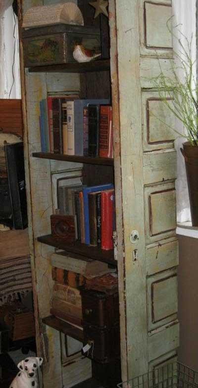 40 ideas para reutilizar una puerta antigua mil ideas de decoraci n - Estantes funcionales ...