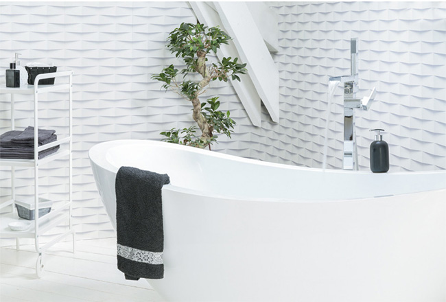 3D adhesive tile for bathroom by Grosfillex