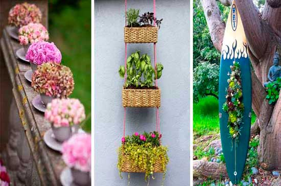 Ideas para crear maceteros con objetos reciclados para Decorar jardines con materiales reciclados