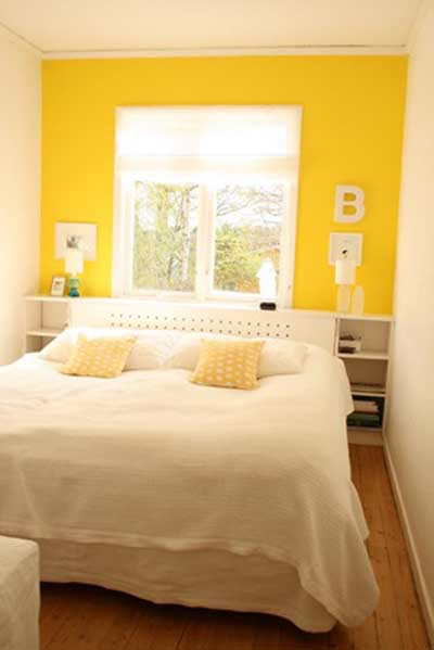 Moderno cuarto dormitorio habitacion pintada de amarillo y for Bright yellow bedroom ideas