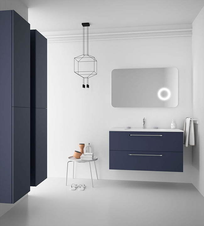 Fussion Chrome furniture in Blue Night finish with chrome handles and built-in washbasin