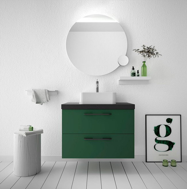 Mueble Fussion Chrome en acabado Royal Green con tiradores y encimera en negro
