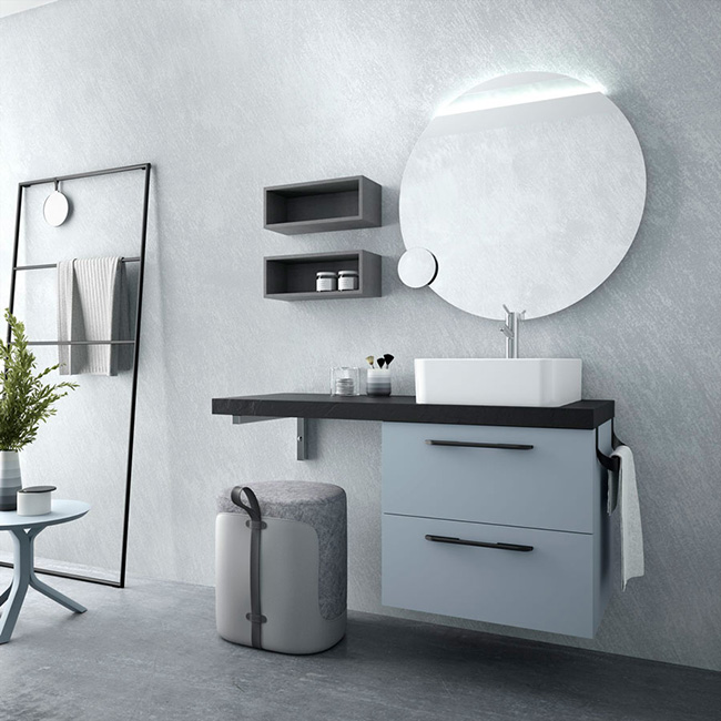Suspended Fussion Chrome furniture in Blue fog finish with black handles and top