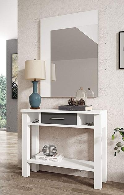 Un mueble recibidor perfecto para entradas pequeñas, moderno y barato.