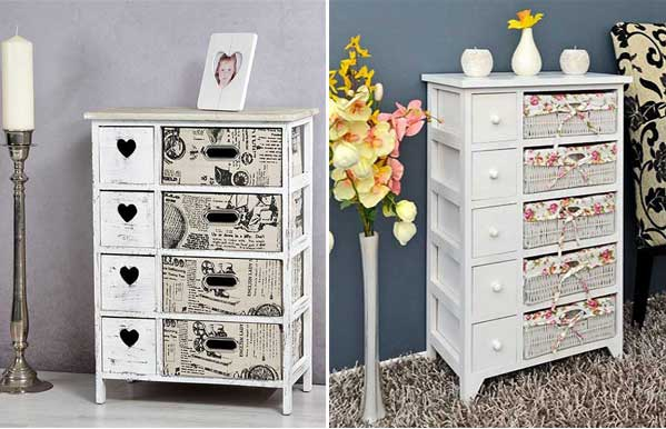 Encantadores muebles recibidores con aire vintage y for Muebles de mimbre pintados