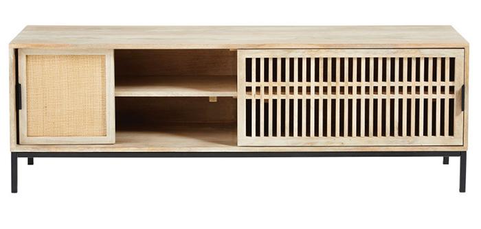 Mueble para TV que oculta cables y dispositivos