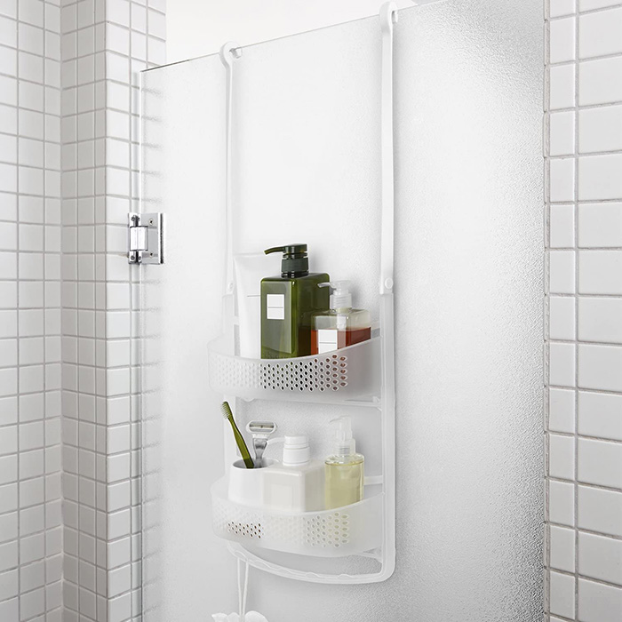 Suspended rubber shelf for screens or showers