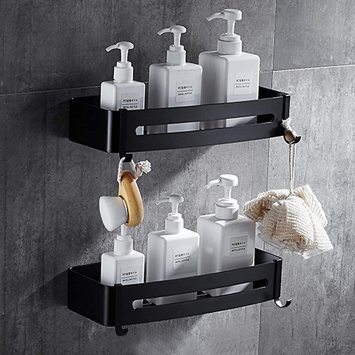 Double matte black shelf to put on the shower walls without holes