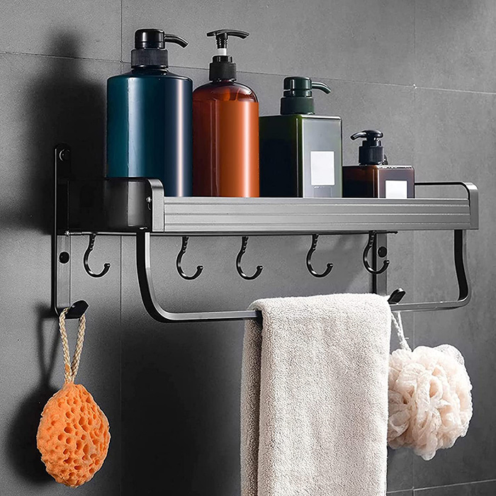 Shower wall and bathtub shelf without holes and keep order and cans organized and handy