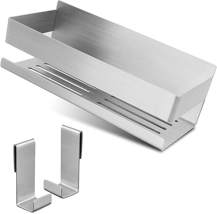 Stainless steel soap and shampoo shelf to hang on the wall of the shower without holes