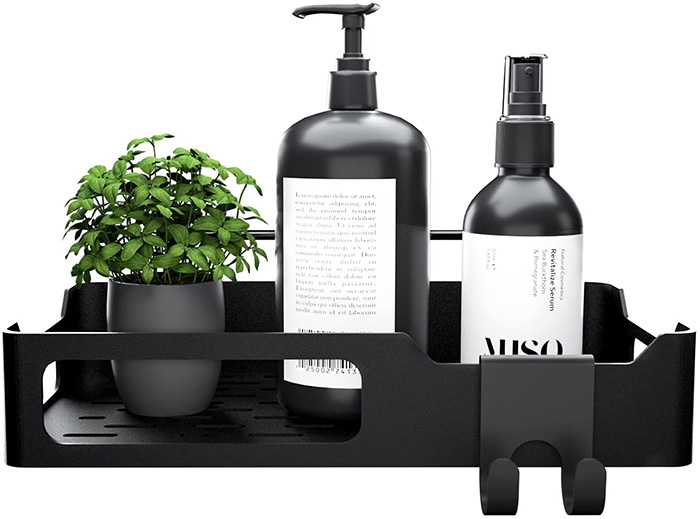 Matte black soap and shampoo shelf to hang on the shower wall without holes