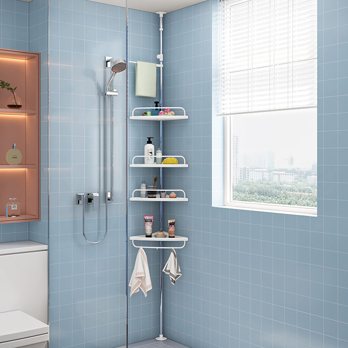 Bar with shelves for shower or bathroom without holes