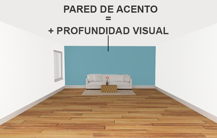 Paint the accent wall to make a larger space