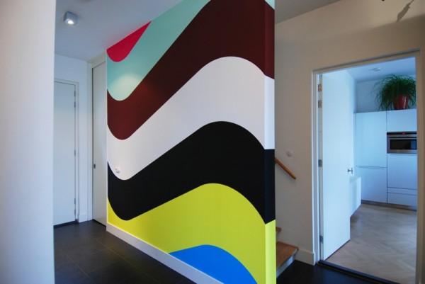 Ideas para pintar las paredes casa. Píntala a rayas onduladas. | Mil ...