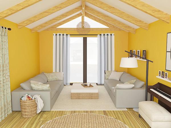 Un render fotorealista de un salón con las paredes naranjas y cortinas en color blanco