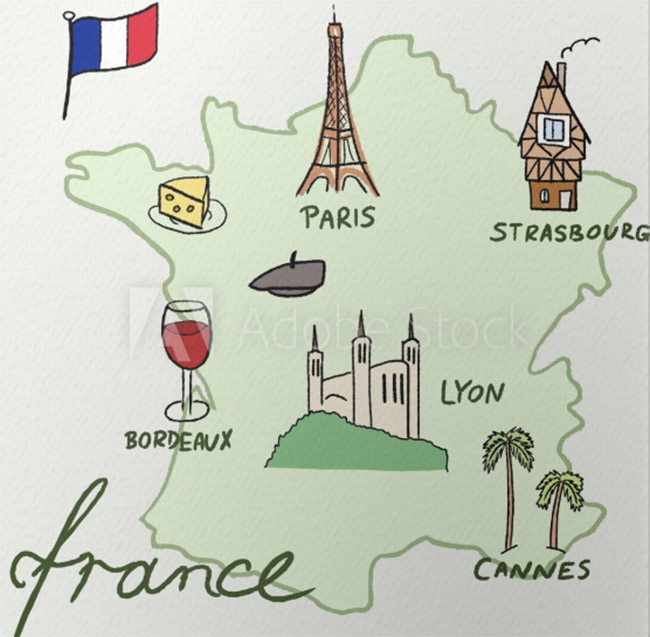 Un póster de mapa de Francia